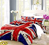 REALIN The Union Flag Duvet Cover Set The Union Jack Bedding Household Guards Retro Bed Sets 2/3/4PCS Quilt Covers/Sheets/Pillow Shams,Twin/Full/Queen/King (D,Queen-228x228cm-4PCS)