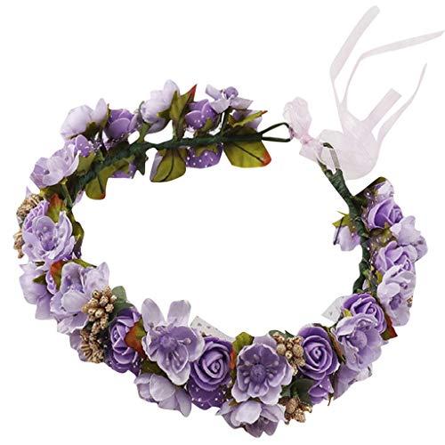 LUBITY Bandeau Fleur Fée Fleur Couronne de Fleurs Cheveux Demoiselle d'honneur Bandeau Fleur Mori Fille Couronne Neige Fil Mousse Fleur Petite Fleur De Cerisier Coiffe Cheveux Accessoires (Violet)