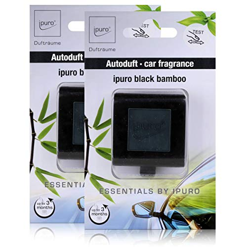 Essentials by Ipuro Car Line Autoduft black bamboo - Kräftig, grüne Frische vereint mit einer holzigen Nuance – ein herb-frischer Duft (2er Pack)