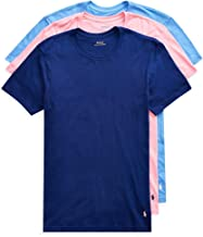 3 Pack Polo Ralph Lauren Men's Classic Crew-Neck Cotton T-Shirt (Harbor Blue/Pink/Royal)