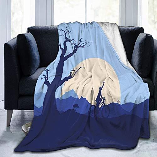 Manta mullida, con diseño de luna creciente en el bosque abandonado con árboles y un niño en bicicleta de ciclismo, ultra suave, manta para dormitorio, cama, TV, manta de cama de 152 x 127 cm
