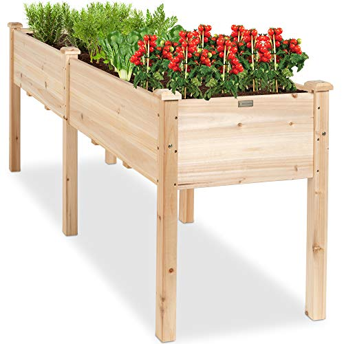 Best Choice Products 72x24x30in Raised Garden Bed, Elevated Wood Planter Box Stand for Backyard, Patio, Balcony w/Divider Panel, 6 Legs, 300lb Capacity