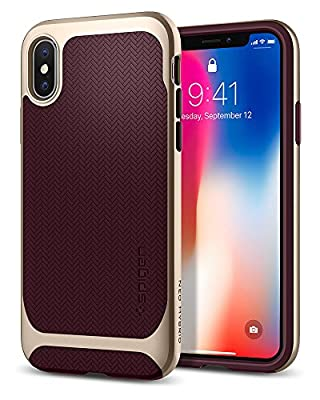 Spigen Neo Hybrid iPhone X Case Herringbone with Flexible Inner Protection and Reinforced Hard Bumper Frame for Apple iPhone X (2017)