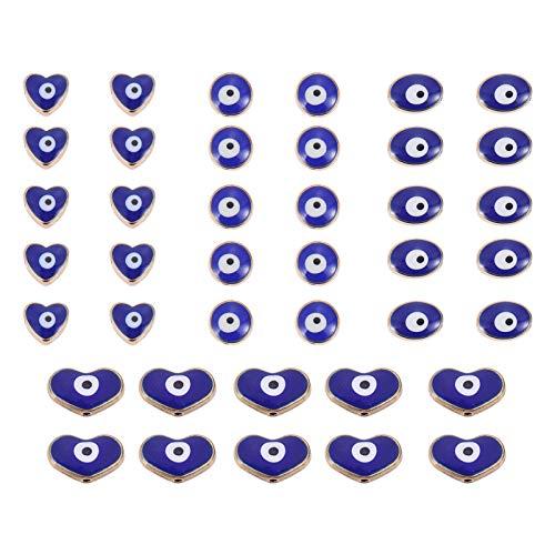 EXCEART 40 Cuentas de Ojo Malvado Azul Cuentas de Ojo Malvado Turcas Cuentas Espaciadoras de Ojos Malvados Azules para Hacer Joyas Y Collares