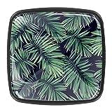 Pomos de cristal con hojas de palma verde para armario, tiradores y pomos de cristal de 3 cm (4 piezas)