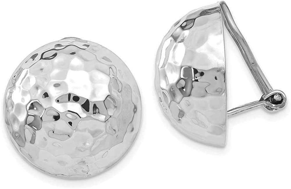 14k White Gold 18mm Hammered Non Pierced Clip On Earrings Ball Button Fine Jewelry For Women Gifts For Her