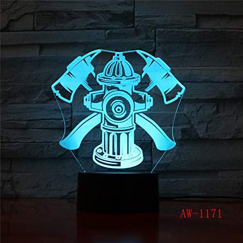 Lámpara de mesa 3D Regalo de juguete para niños Bombero LED Botón USB Cambio de color Bombero Luz nocturna Lámpara de noche Luz de decoración XW-Night Light1171