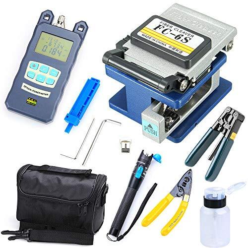 Fibra óptica FTTH Juego de herramientas con FC-6S Fiber Cleaver y medidor óptico de potencia 5 km Visual Fault Locator, pelacables