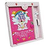 Monet Studios Unicorn Diary Secret Children's Kid's Journal A5 Notebook Pen Set with Padlock and Key Unicorn Theme Aged 5 6 7 8 9 10 11 (Unicorn)…
