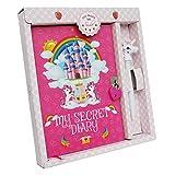 Monet Studios Unicorn Diary Secret - Diario para niños (tamaño A5, con candado y diseño de Unicornio Envejecido, 5 6, 7, 8, 9, 10 y 11), diseño de Unicornio