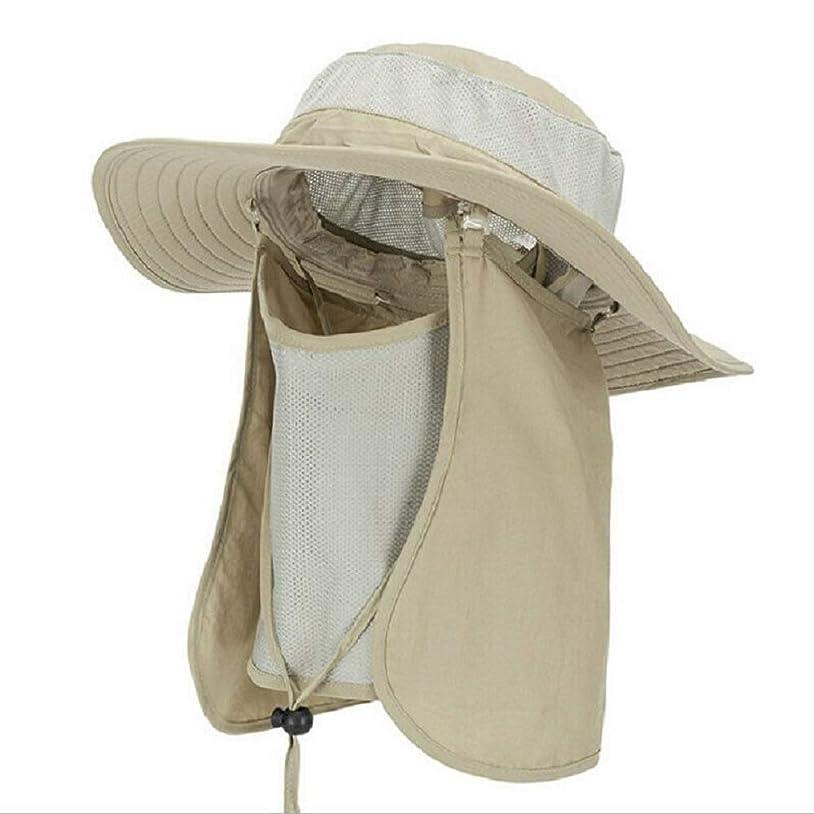 ベスト半ば野菜釣り帽子、ガーデニング用メッシュサン帽子、登山、キャンプ、ボート遊び、UPF 50+保護取り外し可能なネックフラップ&フェイスカバーマスク、ユニセックスで速乾性。