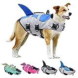 KOESON Hundeschwimmweste, Ripstop-Schwimmweste, Schwimmweste, verstellbar, mit starkem Rettungsgriff für kleine, mittelgroße und große Hunde (blauer Hai, S)