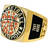 Crown Awards Basketball Premiere Engravable Ring, Gold Basketball Ring with Custom Engraving, Size 10
