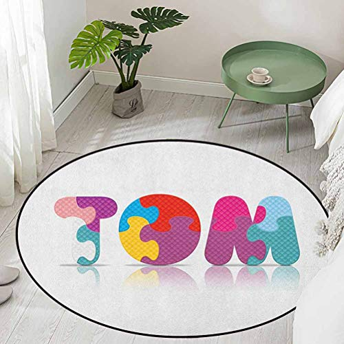 Round Soft Area Rug for Children Baby Children Newborn Themed Colorful Boy Name Design Abstract Educational Puzzle Pattern Diameter 66 inch Best Floor mats