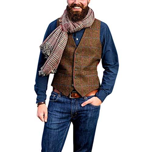 HZQIFEI Hommes Gilet Rétro Gilet de Costume Tweed à Chevrons Carreaux sans Manches Col en V Veste Vintage Classique Business Veste Mariage Soirée Slim Fit (Marron, XL)