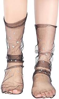 VJGOAL, Mujer Moda casual Glitter Star Suave Calcetín de malla Transparente Elástica Sheer tobillo calcetín(Un tamaño,Negro)