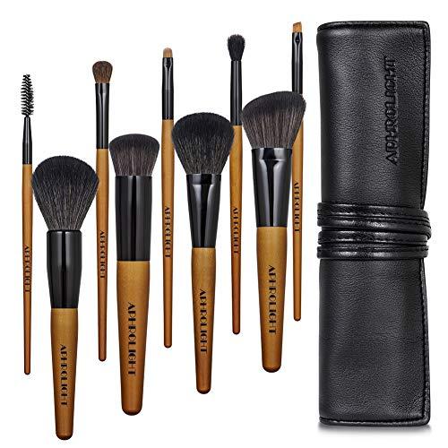Professional Travel Makeup Brush Set 9pcs Premium Soft Synthetic Bristles