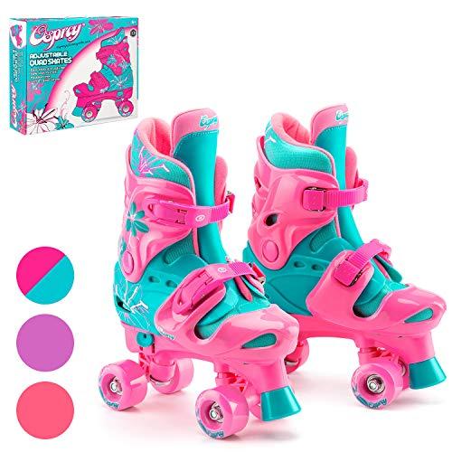 Osprey Kinder Rollschuhe, verstellbare Rollschuhe Mädchen, Quad Skate Design, Small/10-12 UK Kind, Rosa/Blaugrün