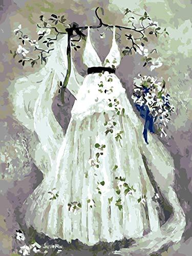 zyqcam Digital Painting Suite Vestido de Novia Blanco con Kit Digital Pinceles Decoración Decoraciones-16x20 Pulgadas (Sin Marco