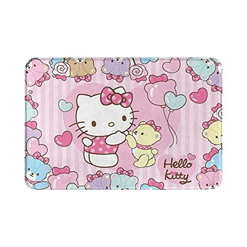 Sli8zhen - Alfombra antideslizante para puerta de dormitorio, sala de estar, comedor, cocina, Hello Kitty con oso