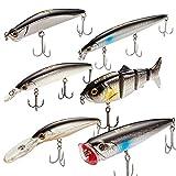 Dr.Fish 6 PCs Fishing Hard Lure Kit Minnow Popper Stickbait Swimbait VMC Treble Hooks Saltwater...