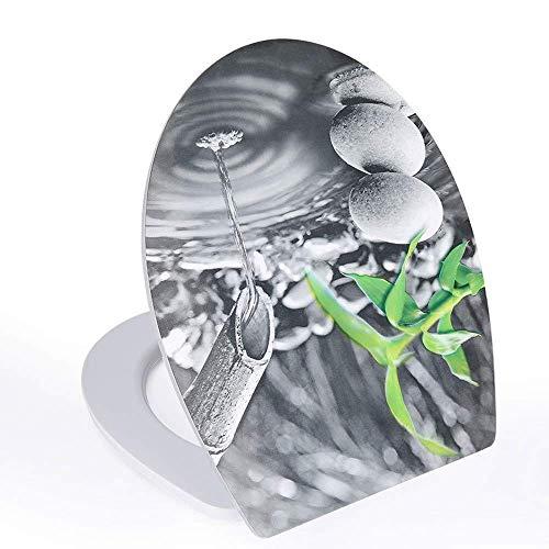 Tapa inodoro Tapa del inodoro, asiento de inodoro de gota de agua 3D con materiales de protección ambiental silenciados Tapa de inodoro para tapa de inodoro para inodoros U / V / o Tapa del inodoro