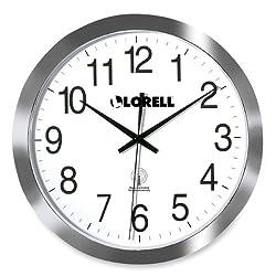 Lorell 60996 Wall Clock, 12-Inch, Arabic Numerals, White Dial/Silver Frame