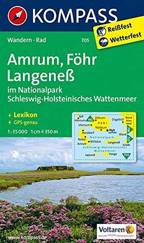KOMPASS Wanderkarte Amrum - Föhr - Langeneß: Wanderkarte mit Kurzführer und Radwegen. GPS-genau. 1:35000: Wandelkaart 1:35 000 (KOMPASS-Wanderkarten, Band 705)