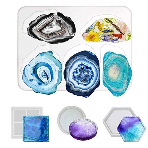 Posavasos de silicona, molde de ágata de resina para hacer moldes de silicona epoxi, para decoración del hogar, manualidades, paquete de 4 moldes de resina