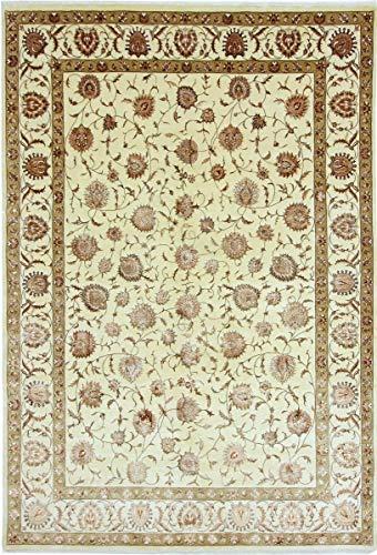 Nain Trading Indo Täbriz 347x236 Orientteppich Teppich Beige/Olivgrün Handgeknüpft Indien