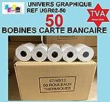 50 Bobine terminal carte bancaire papier thermique 57 x 40 x 12 m papier thermique pour CB 57 x 40 x...