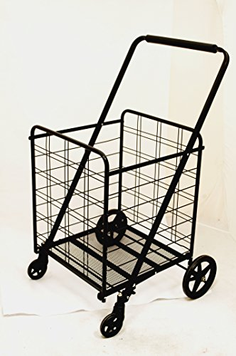 Uniware 360 Degree Wheel Folding Super Jumbo Shopping Cart 42 X 25 X 22 Inch (Black) [1203]