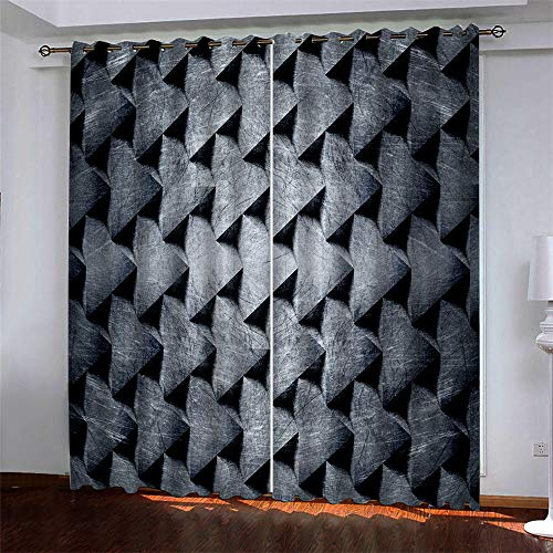 YUNSW Rainbow Geometry 3D Digital Printing Polyester Fiber Curtains, Garden Living Room Kitchen Bedroom Blackout Curtains, Perforated Curtains 2 Piece Set