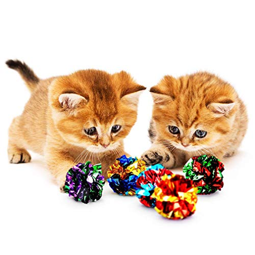 SunGrow Mylar Crinkle Balls for Cats 152 Inches Shiny and Stress Buster Toy Lightweight and Suitable for Multiple Cats#039 Play Ideal for Kittens and Adult Cats 12 Pack