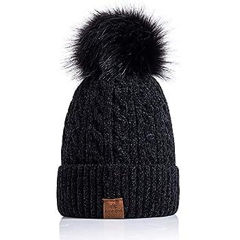 Page ONEWomen Winter Pom Pom Beanie Hats Warm Fleece Lined,Chunky Trendy Cute Chenille Knit Twist Cap/Black