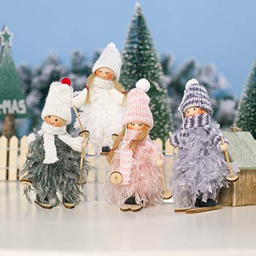 Makone Original Weihnachtsdekoration, Skipuppe im Federkleid mit Schlitten und Schal und Mütze für Weihnachts-Weihnachtsbaum und Geburtstagsfeier und Wohnkultur, Party, Feiertag (4 Stück)