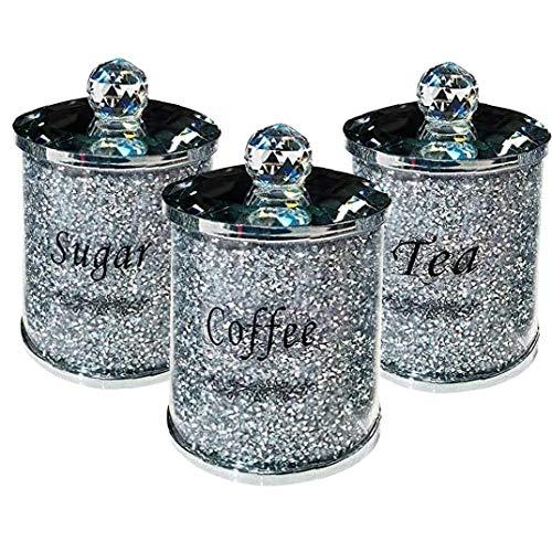Diamante Schiacciato & Crystal Fil Set di Storage Cucina BARATTOLI tè e caffè Zucchero Vasi unica Accumulazione per il vostro arredamento cucina