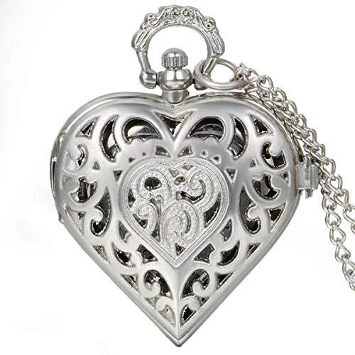 Jewelrywe Orologio da Tasca a Quarzo Figura Cuore con Collana in Lega Argento Vintage