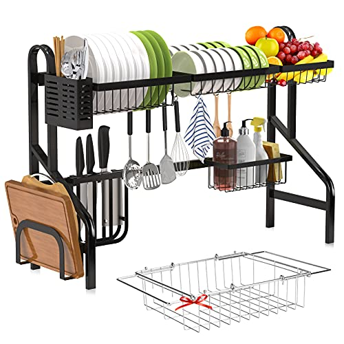 Over the Sink Dish Drying Rack - Tmsine Adjustable 2-Tier Large Dish Dryer Rack for Kitchen Organizer Storage Space Saver Shelf Utensils Holder Tableware Drainer (32≤ Sink Size ≤ 39.5inch)