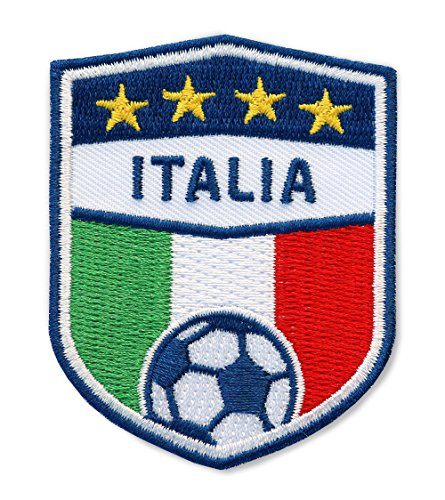 Club of Heroes 2 x Italia Fussball Abzeichen 70 x 55 mm gestickt/Italien Aufnäher Aufbügler Applikation Patch Bügelbild Sticker für Kleidung Cap Tasche/Football National Team Dress Trikot Flagge Fan