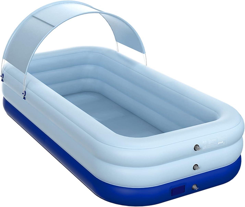 PPLAS 2.1/2.6M Rectángulo Piscina Grueso inalámbrico Inflatable Pool Pool con Sombrilla Al Aire Libre Pantallo de Play Water Center (Color : R)