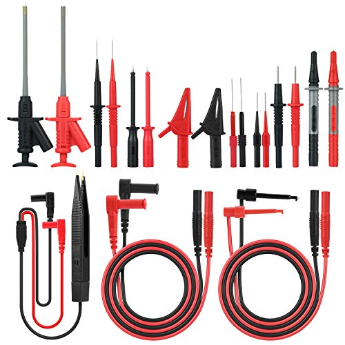 21 in 1 Electronic Test Leads Kit, Meterk Digital Multimeter Leads with Alligator Clips Replaceable Probes Tips Accessories Kit for DMM Digital Multi Meter & Clamp Meters