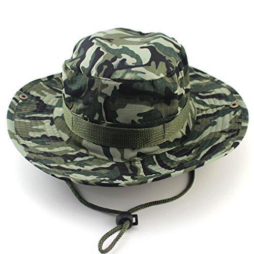 Chapeau de pêche à grand bord pour protection UV, séchage rapide, pour randonnée, camping, voyages - Unimango Large camouflage