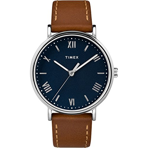 Timex Men's TW2R63900 Southview 41mm Tan/Silver-Tone/Blue Leather Strap Watch