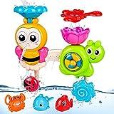 BBLIKE Badespielzeug für Babys, Kinder Wasser Dusche Badewannenspielzeug mit 3 Push-on Wasser-Spraypistole und 1 undichter Löffel, für Kinder Baby ab 3+ ages