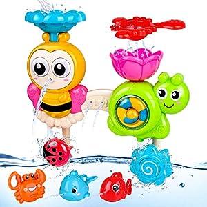 BBLIKE Juguete de Baño para Bebés, Juguetes Bañera con Ducha de Agua para Niños con 3 Juguete de Agua pulverizada y 1 Cuchara con Fugas, para Niños Bebés a Partir de 18 Meses+