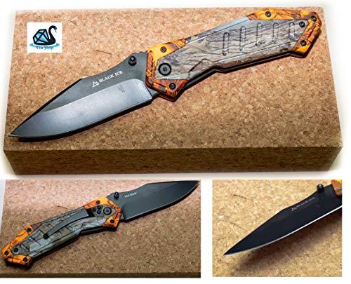 Eva Shop® Premium Einhandmesser ORANGE Hunter Taschenmesser kompaktes Klappmesser Outdoor Survival Messer mit 9 cm beschichteter Klinge - Ideal für Freizeit, Arbeit, Wandern, Camping, Jagd UVM. 8646