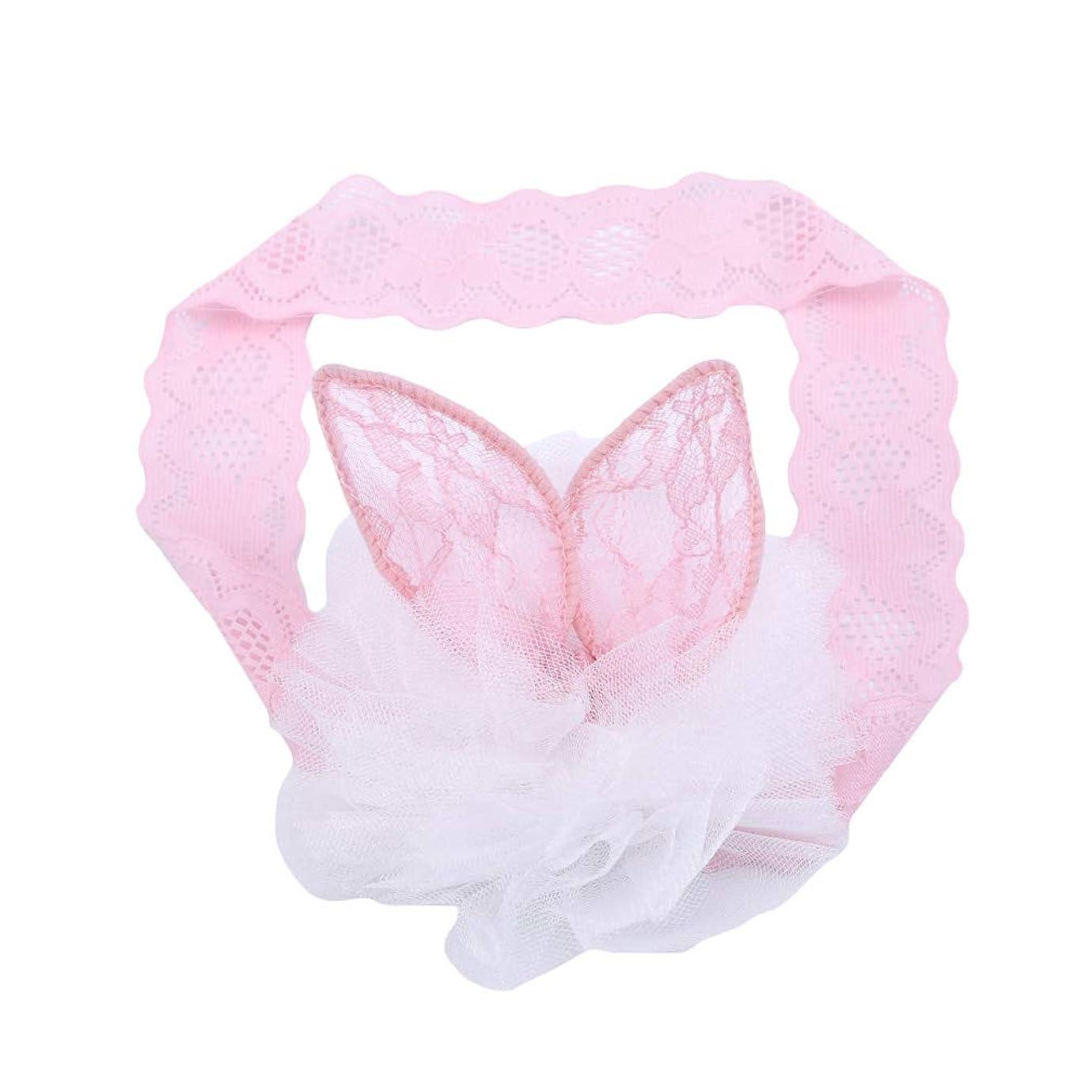 ヘクタール川貯水池火の色 ヘアーバンド 赤ちゃん ベビーカチューシャ ヘアアクセサリー 髪飾り ウサギの耳 ヘッドバンド レース おしゃれ 可愛い 出産祝い ピンク