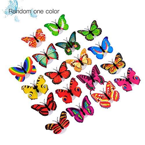 Iluminación LED innovadora 3D Pegatinas de pared de mariposas coloridas Mariposa linda LED Luz de noche Escritorio de la sala de estar Decoración de la pared al azar