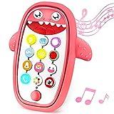 Sommer Juguete para teléfono de dentición para bebés con funda suave extraíble, luces, música y volumen ajustable - Juega y aprende para niños y niños pequeños de más de 18 meses (rojo..